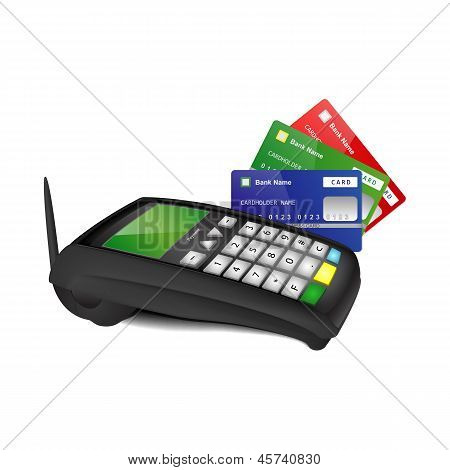 Платежный терминал с цветом банковских карт
