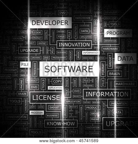 SOFTWARE. Word cloud concept illustration.