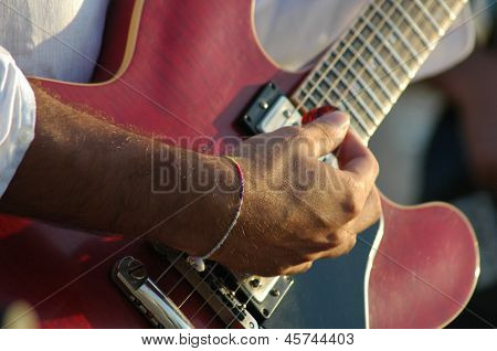 red guitar playing