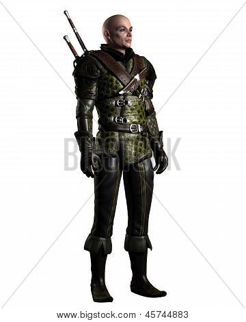 Medieval or historical style battle scarred ranger in leather armour with two swords on a grey background, 3d digitally rendered illustration poster