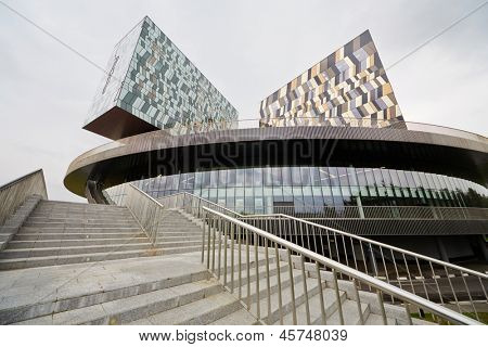 MOSCOW - AUG 20: Russian Business School Skolkovo - analog of Silicon Valley, August 20, 2012, Moscow, Russia. Building was designed by British architect David Adjaye and have an area of 60,000 sq. m.