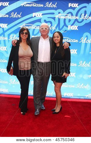 LOS ANGELES - MAY 16:  Stella Arroyave, Anthony Hopkins and Niece arrives at the American Idol Season 12 Finale at the Nokia Theater at LA Live on May 16, 2013 in Los Angeles, CA
