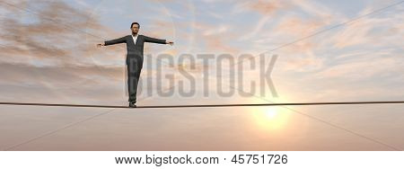 Conceptual concept of 3D businessman or 3D man in crisis walking in balance on rope over sunset sky background