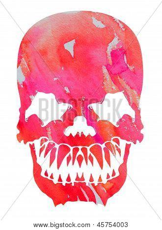 Aggressive Pink Watercolor Skull
