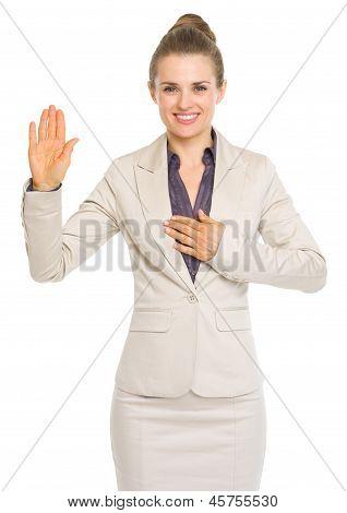 Business Woman Oath Truth