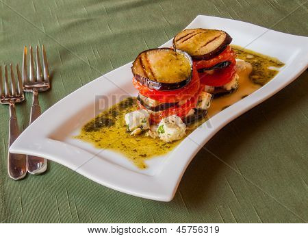 Grilled Eggplant With Tomatoes?, In Olive Sauce With Cheese