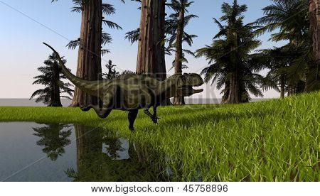 yangchuanosaurus in jungle poster