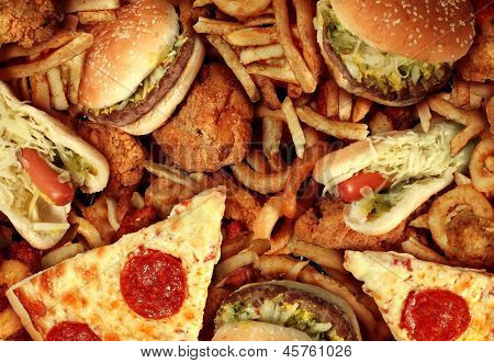 Fast food concept with greasy fried restaurant take out as onion rings burger and hot dogs with fried chicken french fries and pizza as a symbol of diet temptation resulting in unhealthy nutrition. poster