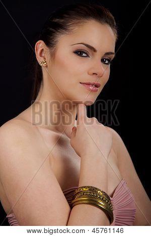 Portrait Of A Beautiful Woman With Bracelet