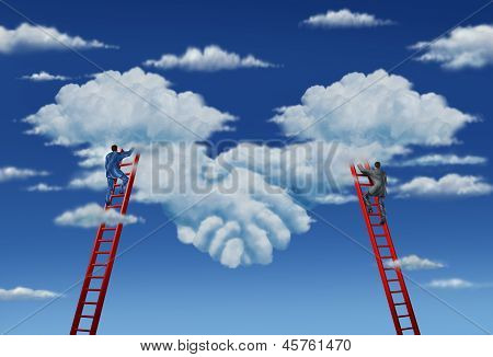 Agreement plan and business deal with a business group of two businessmen climbing ladders working together in partnership to shape clouds in the sky as a symbolic handshake. poster