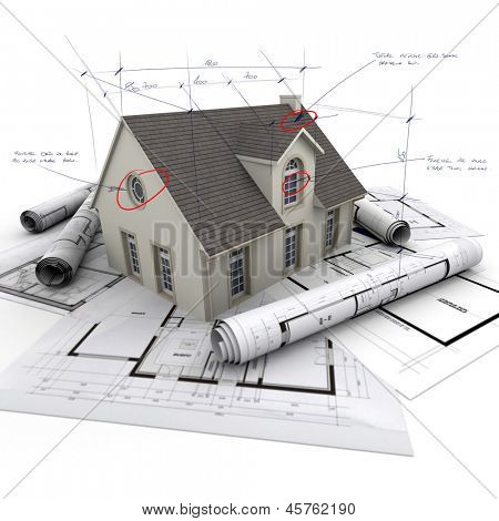 House with notes and measurements and blueprints