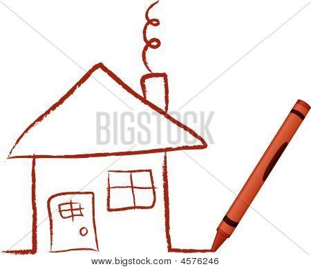 Crayon Drawn House - Vector Illustration