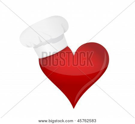 Food Lover Concept. Heart And Chef Hat.