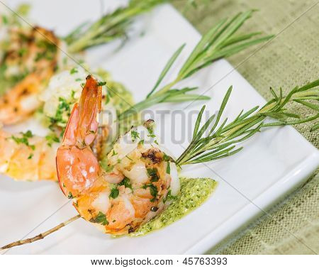 delicious shrimp and pesto appetizer with rosemary