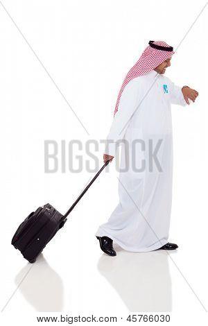 arabic business traveler checking time