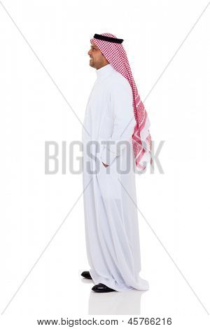side view of an arabic man isolated on white