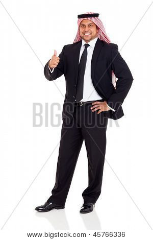 happy arab man in black suit giving thumb up on white background