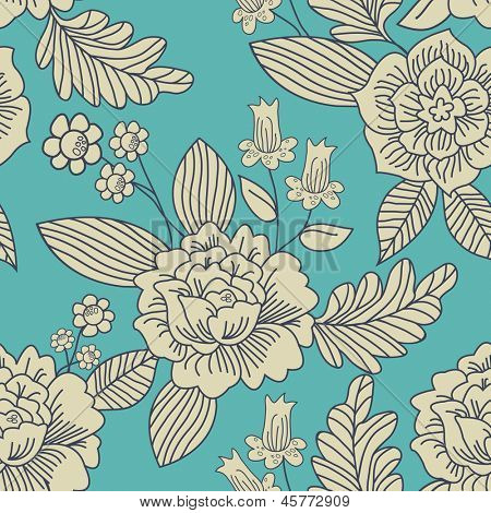 Contemporary Floral Vector Seamless Pattern.  Use to create patchwork pieces for quilts or digital paper for craft projects.