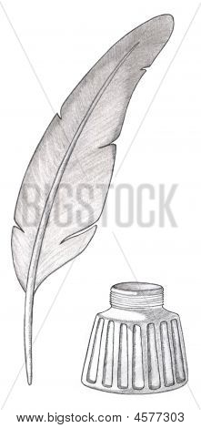Feather Quill Pen With Inkwell