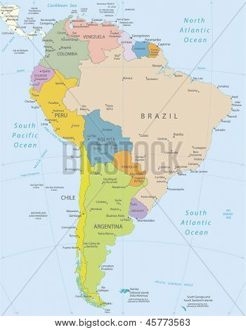 South America-highly detailed map.All elements are separated in editable layers clearly labeled. Vector