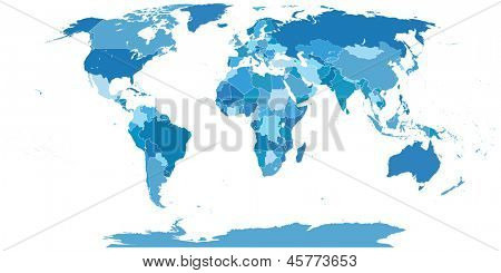 High Detail World map.All elements are separated in editable layers clearly labeled. Vector