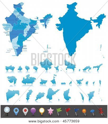 India-highly detailed map.All elements are separated in editable layers clearly labeled. Vector