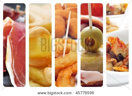 a collage of different pictures of different spanish tapas poster
