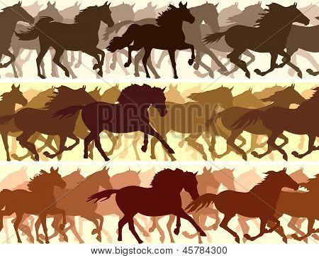 Horizontal vector banner: silhouette herd of horses. poster