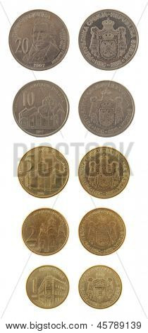Serbian dinar coins isolated on white
