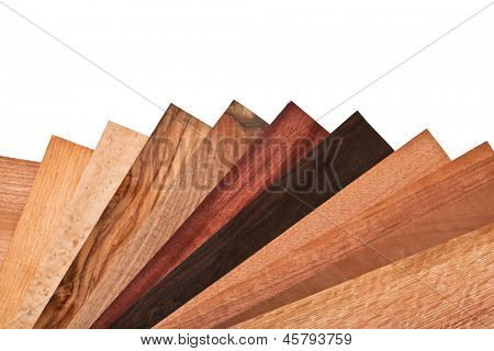 collection of different wood on white background