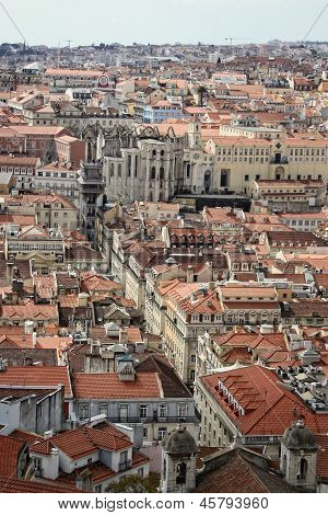 Cluster of buildings of Lisbon city showing Bairro Alto Portugal poster