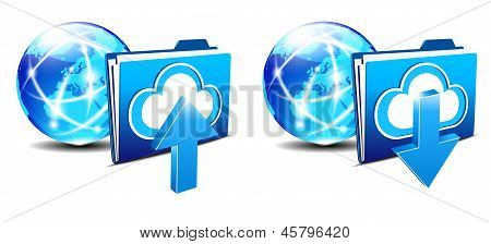 Upload Download Folder and Communication Internet World