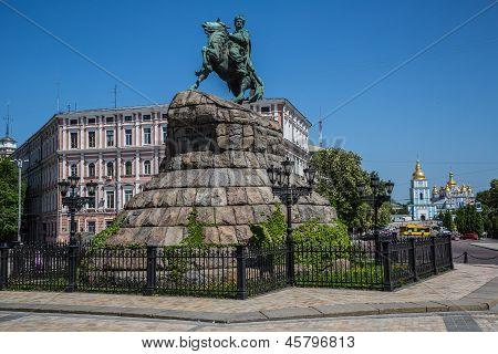 Historic monument to Hetman Bogdan Khmelnitsky on Sofia square in Kiev Ukraine poster