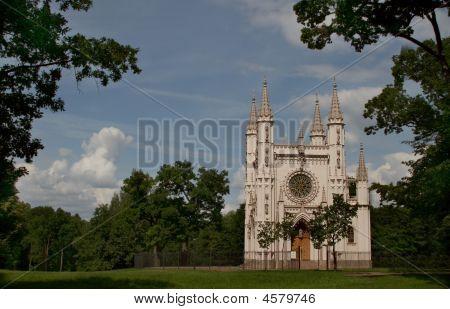 Gothic Chapel (st. Alexander Nevsky Orthodox Church, 1834) In Alexandria Park, Peterhof, St. Petersb