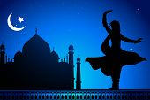 illustration of Indian classical dancer performing kathak infront of Taj Mahal poster