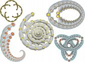 Set from 5 decorative design elements. Ready for create pattern ornaments or background. poster