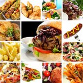 Collage of fast food items, including burgers, wraps, chicken, kebabs, fries and hot dog. poster