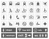Public icons and signs. Info and Wifi labels poster