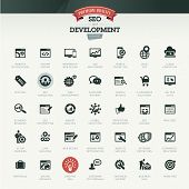 Set of business icons for SEO and development poster
