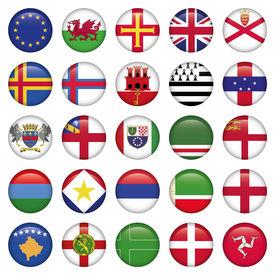 Set of European Round Flag Icons