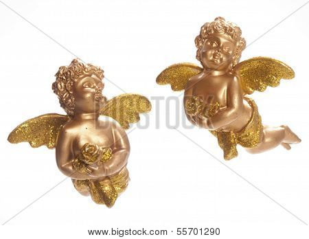 Two Golden Cherubs And White Background