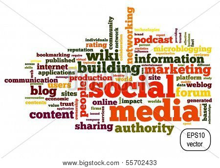 Social media concept in vector word tag cloud on white