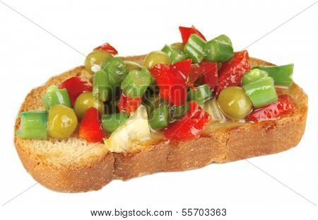 Sandwich with vegetables and greens isolated on white