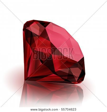 Realistic ruby on white background with reflection - raster version