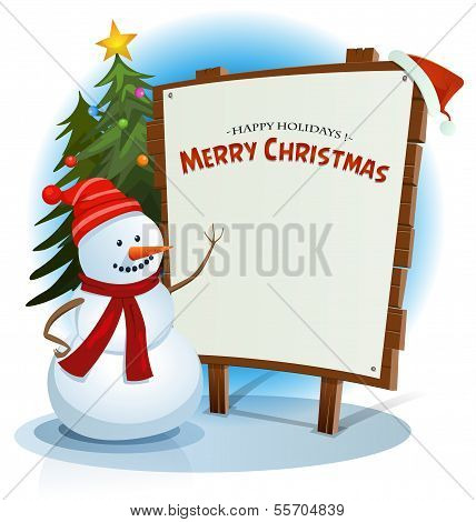 Christmas Snowman And Wood Sign Background