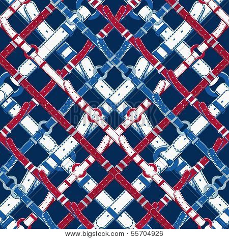 Seamless background pattern. Will tile endlessly. Pattern in nautical style with belts. Vector illustration poster