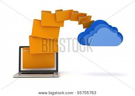 3d laptop folders and cloud server, on white background