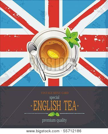 The Great British background with tea cup over a UK Union Jack. Elegant romantic card with place for text