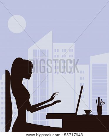 silhouette of Woman With Laptop