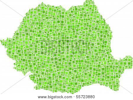 Isolated map of Romania
